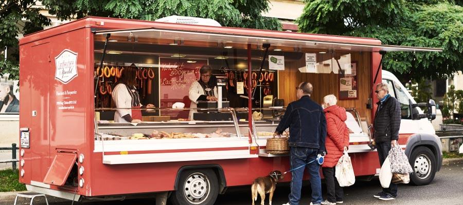 Landfleischerei Specht Verkaufswagen Magdeburger Markt